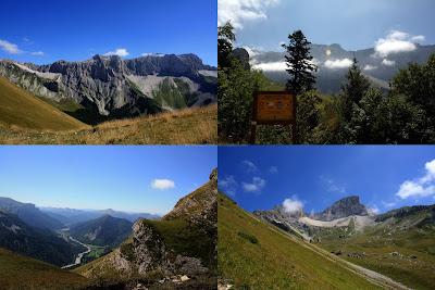 Partie haute : 2 vues de la montagne du Fleyard. En bas à gauche : la vallon de la Jarjatte. En bas à droite : Rocher Rond.