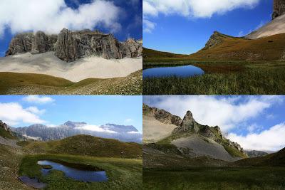 En haut à gauche, la Tête du Lauzon qui surplombe le lac du même nom (en bas et à droite)