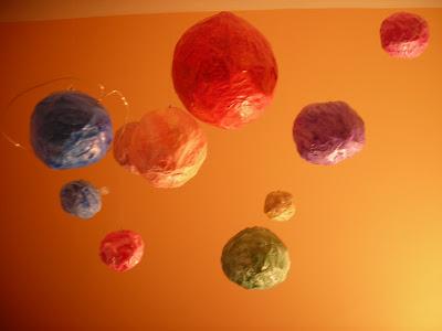 planetas, sistema solar, papel maché, hecho a mano, manualidad