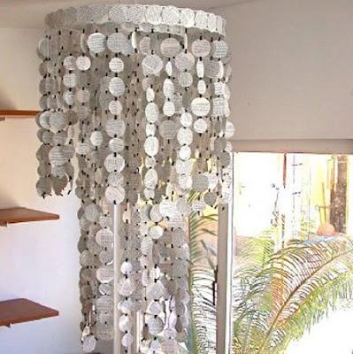 lámpara de techo de papel reciclado