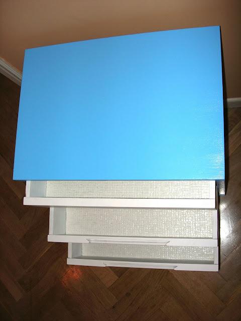 mesita de noche setentera, mesas, restauración, reciclado, azul,  aguamarina,  azul, pintura, pintar