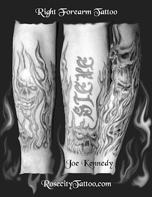 Skull and flames