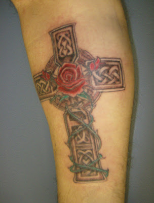 celtic cross  and rose
