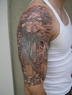 Jersey tattoo dark graveyard tattoo for Tree shoulder tattoo