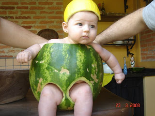 cute baby inside water melon skin