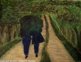 romantic walking in the rain