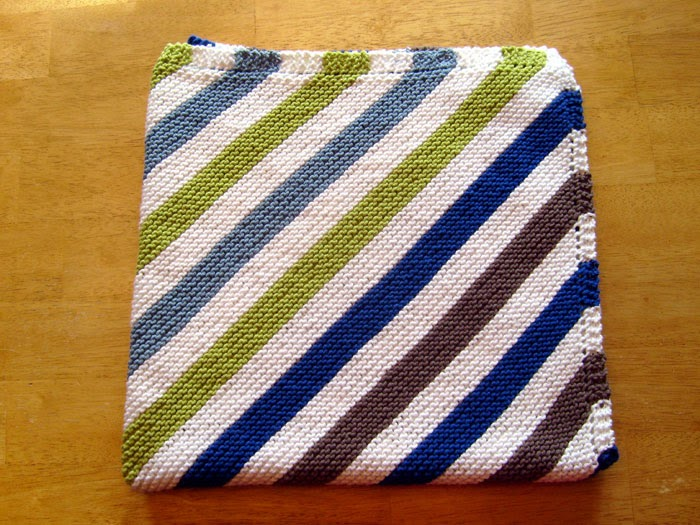 Red Earth Knitting: Striped Diagonal Baby Blanket
