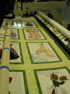Hankie Obsession quilt on the APQS Millennium frame - QuiltedJoy.com