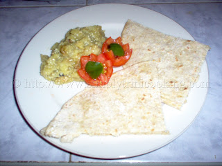 Sada Roti and Baigan or Eggplant Choka, simplytrinicooking.com