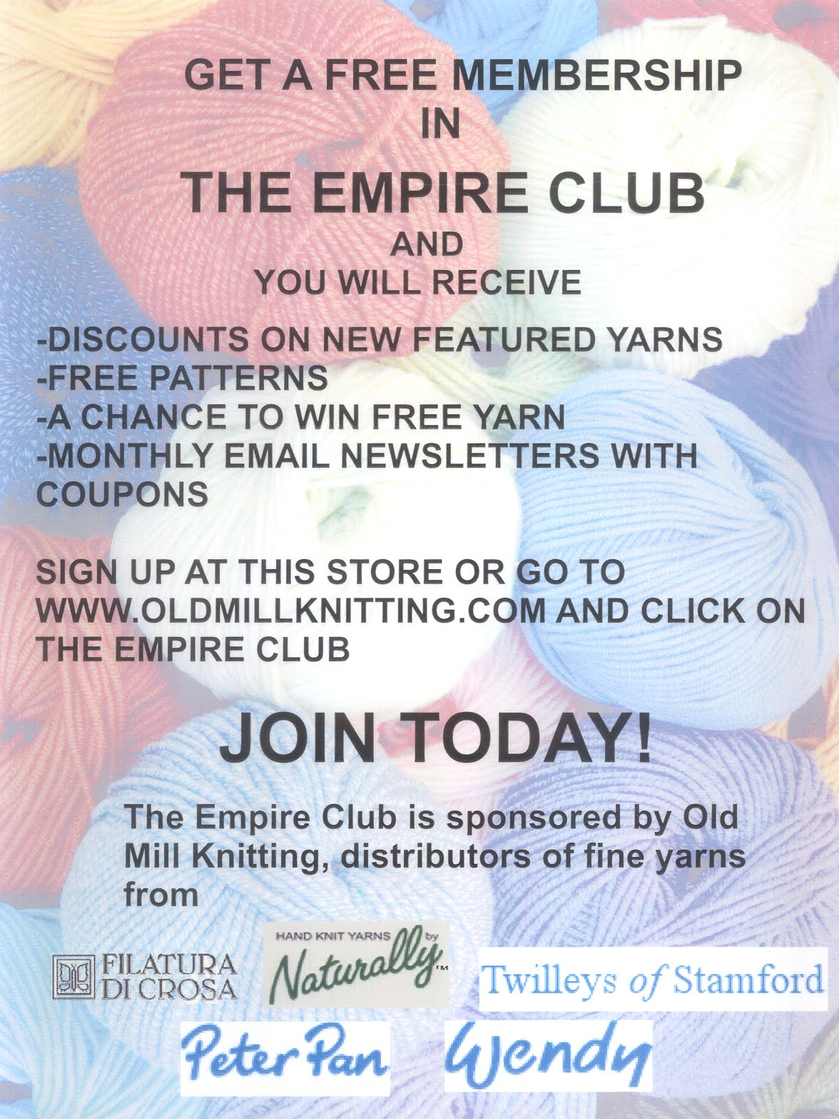 Knitting Club Flyer : Serenity knits introducing the empire club