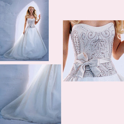 A glorious beadedsatin ball gown with a full gathered Aline skirt and bow
