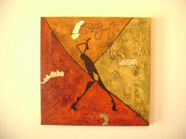 Etnias cuadro realizado en bastidor con acrilicos y texturas for Cuadros en bastidor