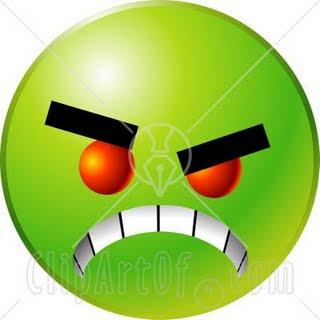 Μια εικόνα για τον αποπάνω - Σελίδα 2 22169-Clipart-Illustration-Of-A-Green-Emoticon-Face-With-Red-Eyes-Gritting-Its-Teeth-Symbolizing-Anger-And-Bullying