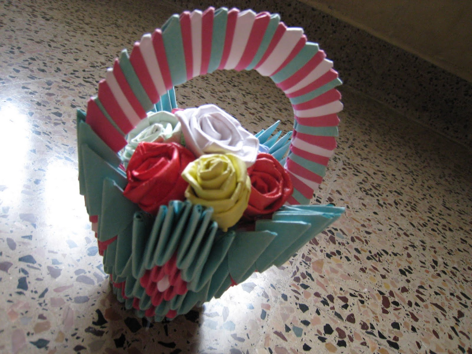 3D Origami Flower Basket