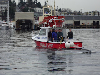 The Hydrovolts Flipwing Turbine demonstration unit being tow tested in the Ballard ship canal
