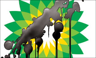 Oil spill on BP logo