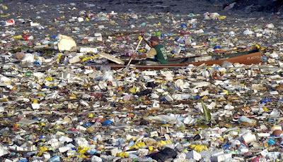 Floating sea of plastic