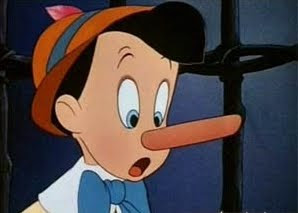 Pinocchio is startled by the growth of his own nose