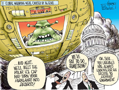 David Horsey | Seattle P-I | Aliens, Climate Change, and Liberals