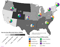 US natural hazard death map is produced