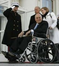 cheney finally wheeled away