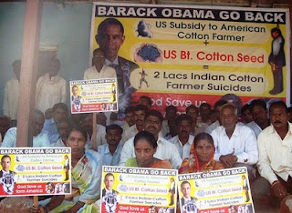 'obama go back' protest by farmers in india