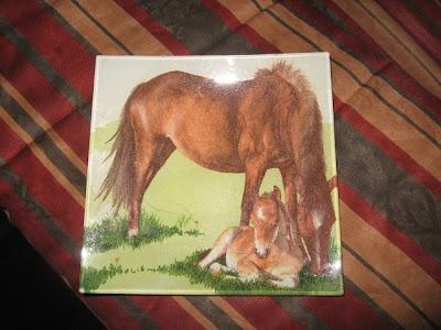 prato de vidro com cavalos