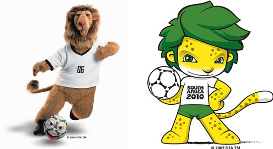 World Cup mascots in Germany and South Africa