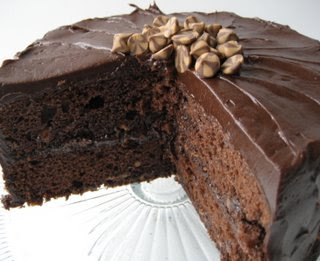 Chocolate Fudge Cake with Peanut Butter Ganache