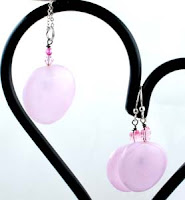 Pink Glass Earrings and Pendant by Designing Diva