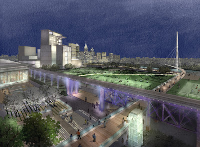 Rendering of Penn Connects including pedestrian bridge over Schuylkill River