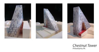Three views of The Unknot Tower designed by Winka Dubbeldam, Developed by CREI
