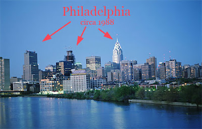 Old Philadelphia skyline photo from AP article in USA today november 2007