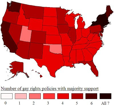So here is a map showing public support for gay rights policies: