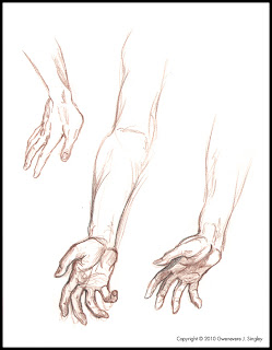 Life drawing for Flight and Fetters - rescuer's hands