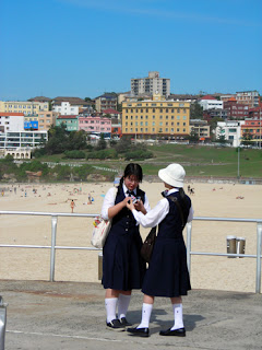 Asian schoolgirls on Bondi Beach, Sydney