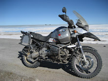 My Bike and Salar de Uyuni, with 2 4x4s stuck in the Background