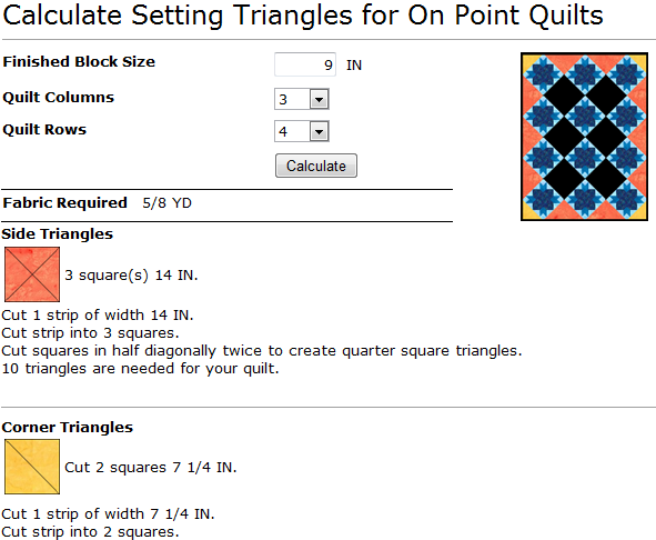 Mywebquilter Com Free Calculator For On Point Quilt