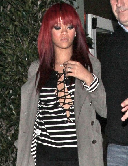 rihanna hair color 2011. rihanna red hair 2011. rihanna