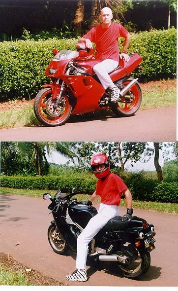 TZR-250 & RG400, posing in Cijantung, 1999