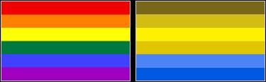 Vista normal (izquierda), y vista de un daltónico (derecha)
