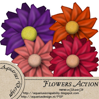 Flowers Action - By: Aquarius Scrapability Preview-Flowers-action-AD