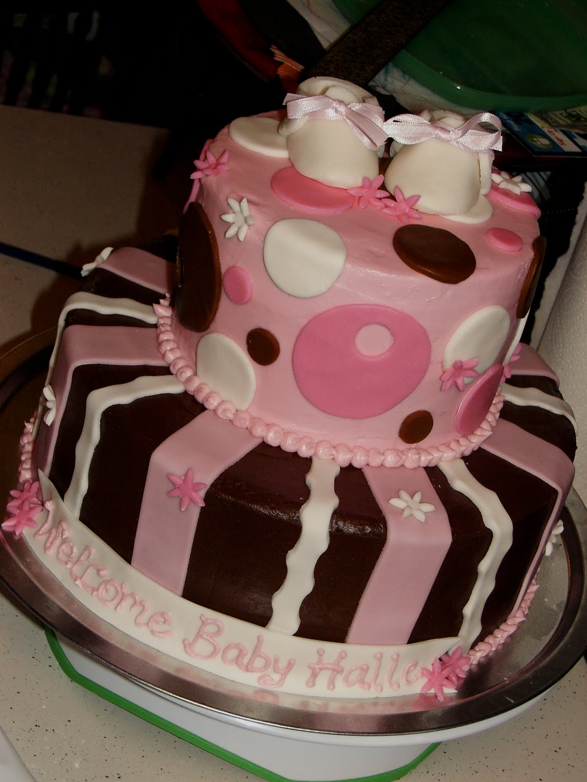 baby shower cakes for girls pink and brown