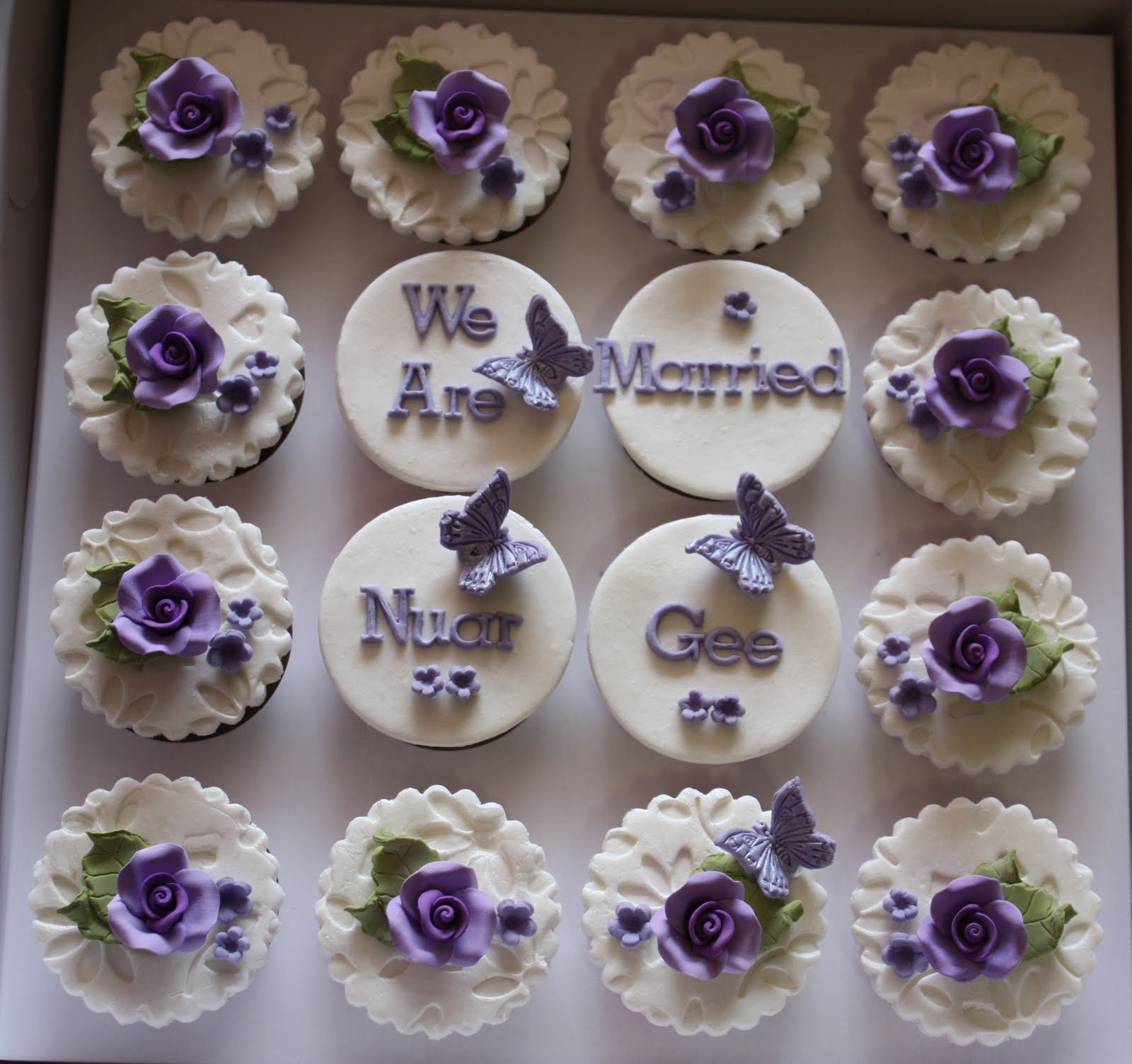 White Engagement Cupcakes