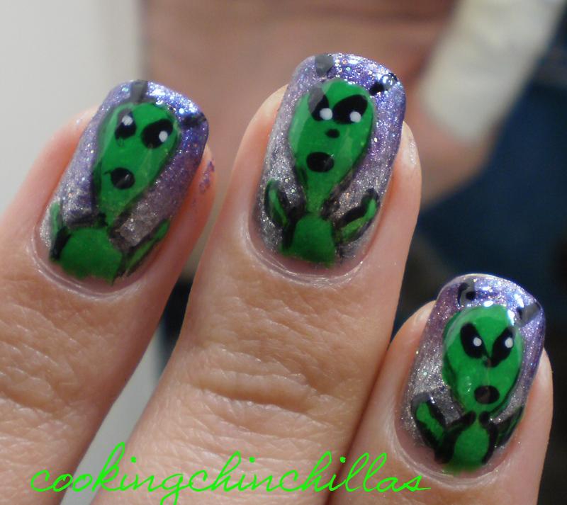 Cookingchinchillas Spacy Alien Nail Art Design