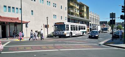 Decorative diagonal crosswalks in Oakland's Chinatown, 63 bus