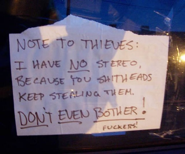 Amazing Message to Thieves Seen On www.coolpicturegallery.us