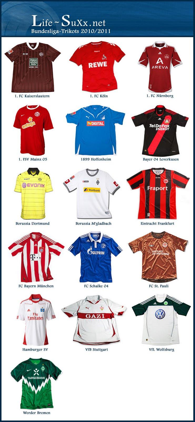 Life bundesliga trikots der saison 2010 2011 for Bundesliga trikots