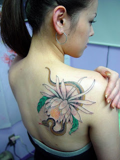 Snake And Flower Tattoos For Girls Back