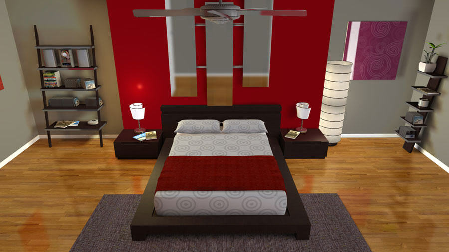speccy red bedroom